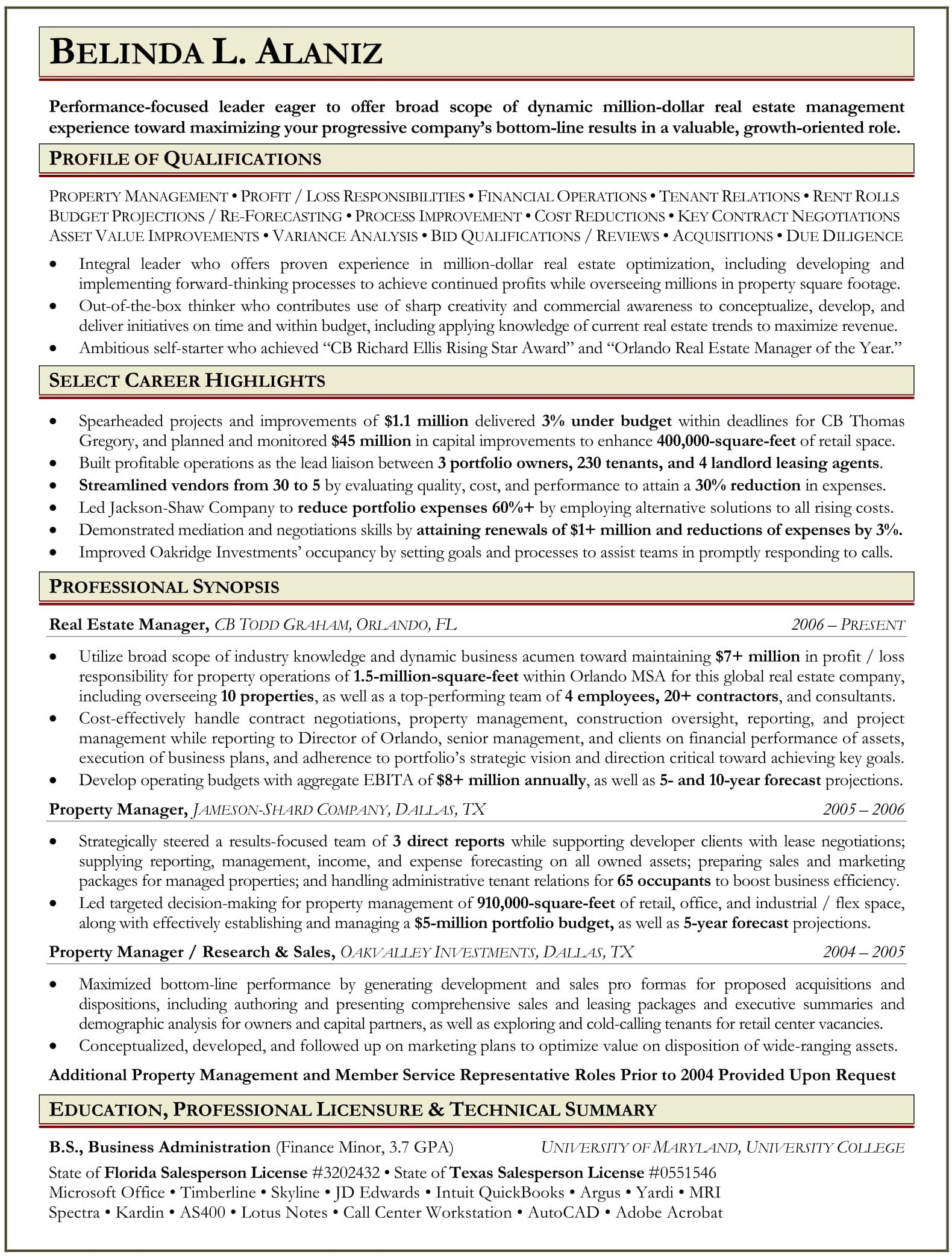 Sample Resume for Property Manager Ranked # 1